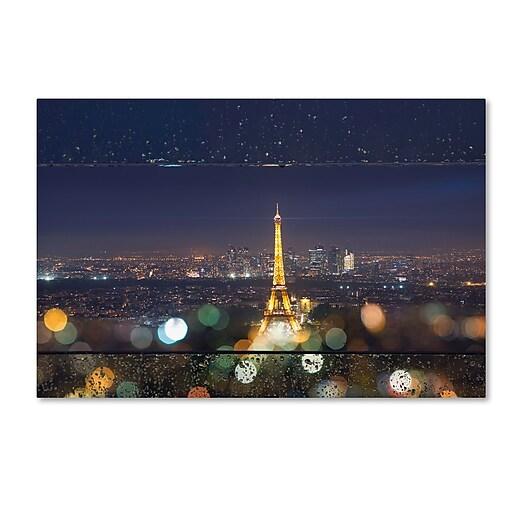 "Trademark Fine Art Mathieu Rivrin 'Fireworks of Rain in Paris' 12"" x 19"" Canvas Stretched (190836129928)"