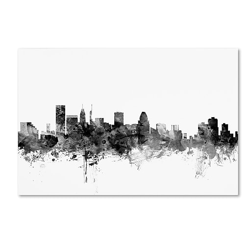 "Trademark Fine Art Michael Tompsett 'Baltimore Maryland Skyline B&W' 12"" x 19"" Canvas Stretched (190836107803)"