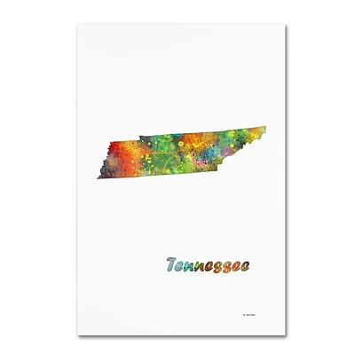 Trademark Fine Art Marlene Watson 'Tennessee State Map-1' 12