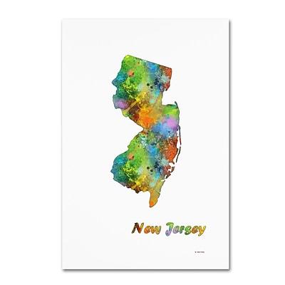 Trademark Fine Art Marlene Watson 'New Hampshire State Map-1' 12
