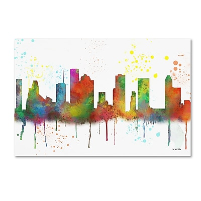 Trademark Fine Art Marlene Watson 'Houston Texas Skyline Mclr-1' 12