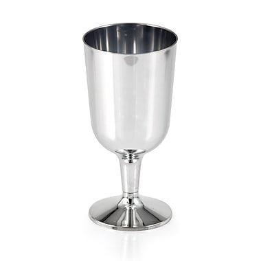 Creative Converting Silver Metallic 6 oz Wine Glasses 6 pk (317594)