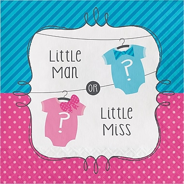 Creative Converting Bow or Bowtie Gender Reveal Napkins 16 pk (667041)