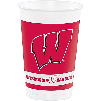 NCAA University of Wisconsin Plastic Cups 8 pk (014858)
