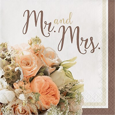 Creative Converting Rose Gold Bouquet Mr. and Mrs. Napkins 16 pk (318158)