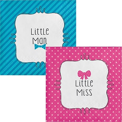 Creative Converting Bow or Bowtie Gender Reveal Beverage Napkins 16 pk (657041)