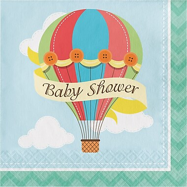 Creative Converting Up, Up, and Away Hot Air Balloon Baby Shower Napkins 16 pk (661606)