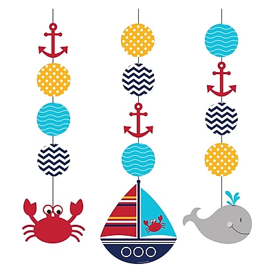 Creative Converting Ahoy Matey Nautical Hanging Cutouts 3 pk (997226)
