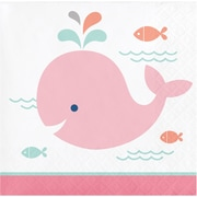 Creative Converting Pink Baby Whale Beverage Napkins 16 pk (322189)