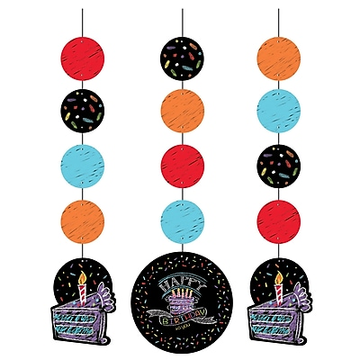 Creative Converting Chalk Birthday Hanging Cutouts 3 pk (995971)