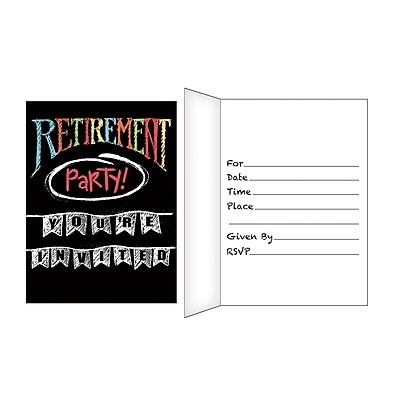 Creative Converting Retirement Chalk Invitations 8 pk (895977)