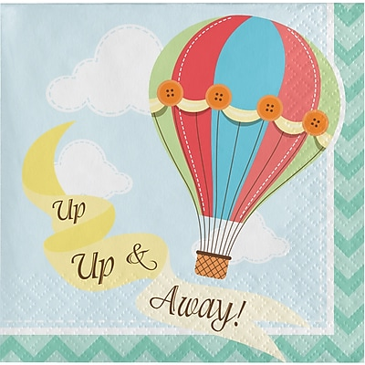 Creative Converting Up, Up, and Away Hot Air Balloon Beverage Napkins 16 pk (657606)