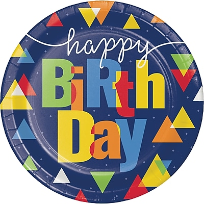 Creative Converting Geo-Pop Birthday Paper Plates 8 pk (324628)