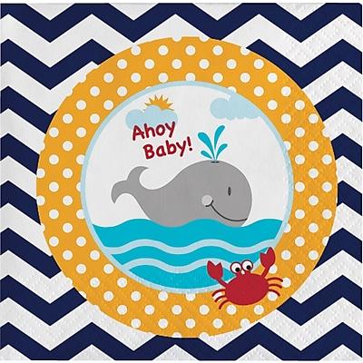 Creative Converting Ahoy Matey Nautical Baby Shower Beverage Napkins 18 pk (651226)