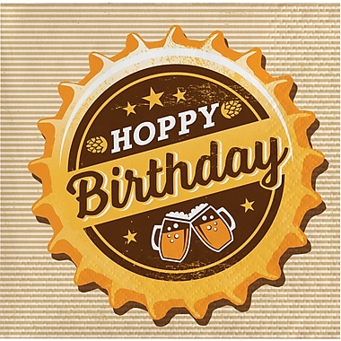 Creative Converting Cheers and Beers Beverage Napkins, Hoppy Birthday 16 pk (322262)