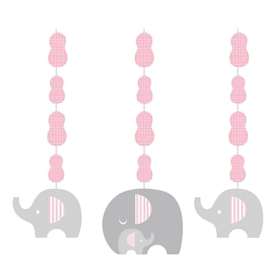 Creative Converting Little Peanut Girl Elephant Hanging Cutouts 3 pk (317224)