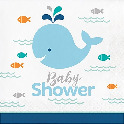 Creative Converting Blue Baby Whale Baby Shower Napkins 16 pk (322198)