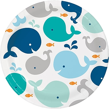Creative Converting Blue Baby Whale Paper Plates 8 pk (322200)