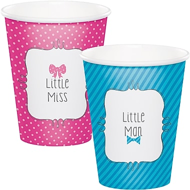 Creative Converting Bow or Bowtie Gender Reveal Cups 8 pk (377041)