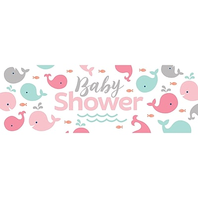 Creative Converting Pink Baby Whale Giant Baby Shower Banner (324415)