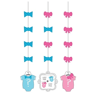 Creative Converting Bow or Bowtie Gender Reveal Hanging Cutouts 3 pk (997041)
