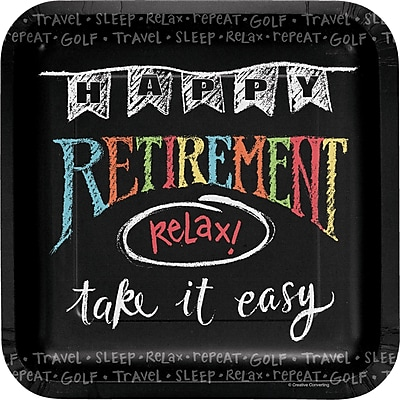 Creative Converting Retirement Chalk Paper Plates 8 pk (425977)