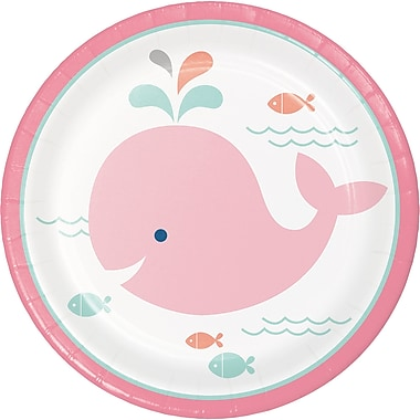 Creative Converting Pink Baby Whale Dessert Plates 8 pk (322192)