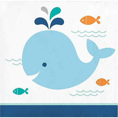 Creative Converting Blue Baby Whale Beverage Napkins 16 pk (322196)