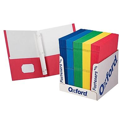 Oxford™ School Grade Twin Pocket Folders, with Fasteners, 100/Box (ESS50764)
