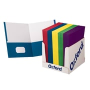 Oxford™ School Grade Twin Pocket Folders, 100/Box (ESS50763)