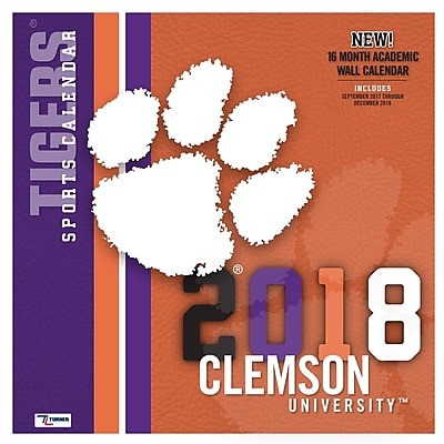 Clemson Tigers 2018 12X12 Team Wall Calendar (18998011798)