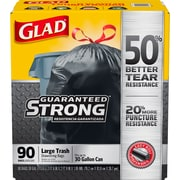 Glad Drawstring 30 Gallon Trash Bags, 1.05 mil, 30 x 33, Black, 90CT (78952)