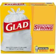 Glad Quick-Tie 13 Gallon Tall Kitchen Trash Bags, .66 mil, 23.74 x 28,White, 80 Bags/Box (60034)
