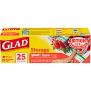 Glad® Zipper Storage Bags, Quart, 25/Box (55052)