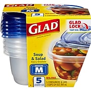 Glad Soup and Salad Containers, 24 oz., 5/Pack (60796)