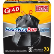 Glad ForceFlexPlus 30 Gallon Large Trash Bags, .90 mil, 30 x 32, Black, 70CT(70358)