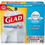 Glad ForceFlex 13 Gallon Drawstring Trash Bags, Low Density, Febreze, .72 mil, 23.74 x 24.88, White, 68 Bags/Box (78714)