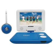 "Sylvania Sdvd7043-blwht 7"" Swivel-screen Portable Dvd & Media Player With Matching Headphones (blue & White)"