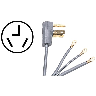 Certified Appliance 90-1024 3-wire Dryer Cord, 30 Amps (6ft, Closed Eyelet)