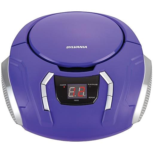 sylvania srcd261 b purple portable cd players with am fm radio