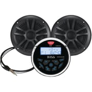 Boss Audio Systems Marine-Gauge System with In-Dash Mechless AM/FM Receiver, Speakers & Antenna Black Speakers (BOSMCKGB350B6)