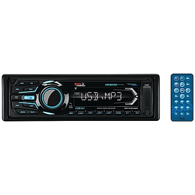 Boss Audio Systems Marine Single-DIN In-Dash Mechless AM/FM Receiver with Bluetooth (Black)(MR1308UABK)