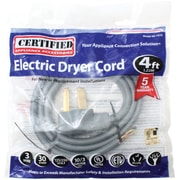 Certified Appliance 90-1010 3-wire Dryer Cord, 30 Amps (4ft, Open Eyelet)