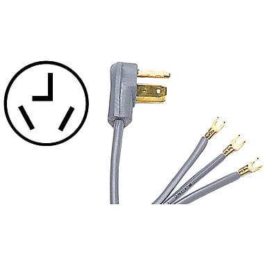 Certified Appliance 90-1012 3-wire Dryer Cord, 30 Amps (5ft, Open Eyelet)
