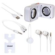 Dreamgear Isound-1615 5-in-1 Travel Sound Kit (white)