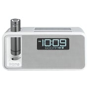 Ihome Ikn105wc Dual-charging Bluetooth Stereo Alarm Clock Radio/speakerphone With Nfc & Removable Power (white)