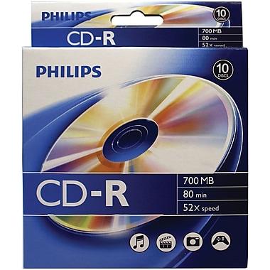 Philips – Disques CD-R de 700 Mo, 80 minutes, 10/boîte à accrocher (CR7D5BB10/17)