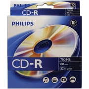 Philips Cr7d5bb10/17 700mb80-minute Cd-rs, 10-ct Peggable Box