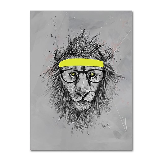 "Trademark Fine Art Balazs Solti 'Hipster Lion' 14"" x 19"" Canvas Stretched (190836180530)"