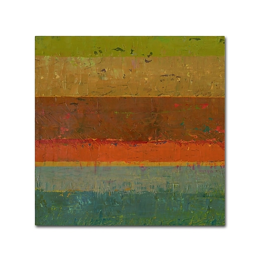"Trademark Fine Art Michelle Calkins 'Gold Line' 14"" x 14"" Canvas Stretched (190836073740)"